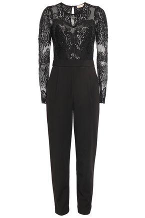 MICHAEL MICHAEL KORS Sequin-embellished tulle-paneled twill jumpsuit