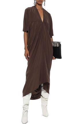 Rick Owens Dress RICK OWENS WOMAN DRAPED SILK CREPE DE CHINE MIDI DRESS BROWN