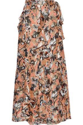 DIANE VON FURSTENBERG Salona fil coupé silk-blend chiffon maxi wrap skirt
