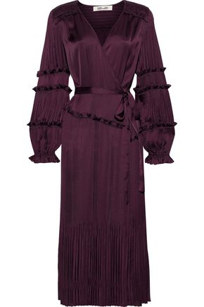 DIANE VON FURSTENBERG Keira satin-paneled plissé crepe de chine wrap dress