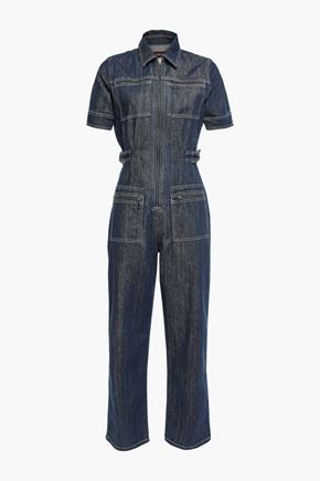 ALEXACHUNG Cropped denim jumpsuit
