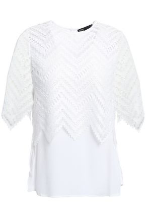 MAJE Layered lace and crepe top