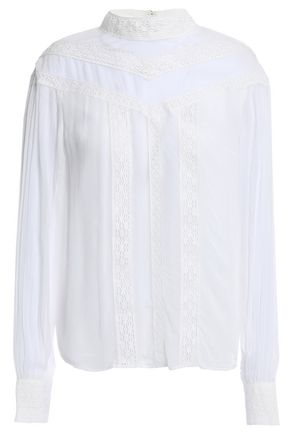 MAJE Lace-paneled crepe and georgette blouse