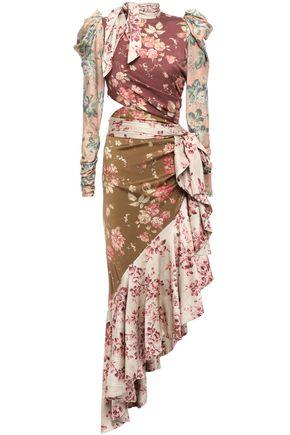 ZIMMERMANN Cutout floral-print silk-blend twill dress