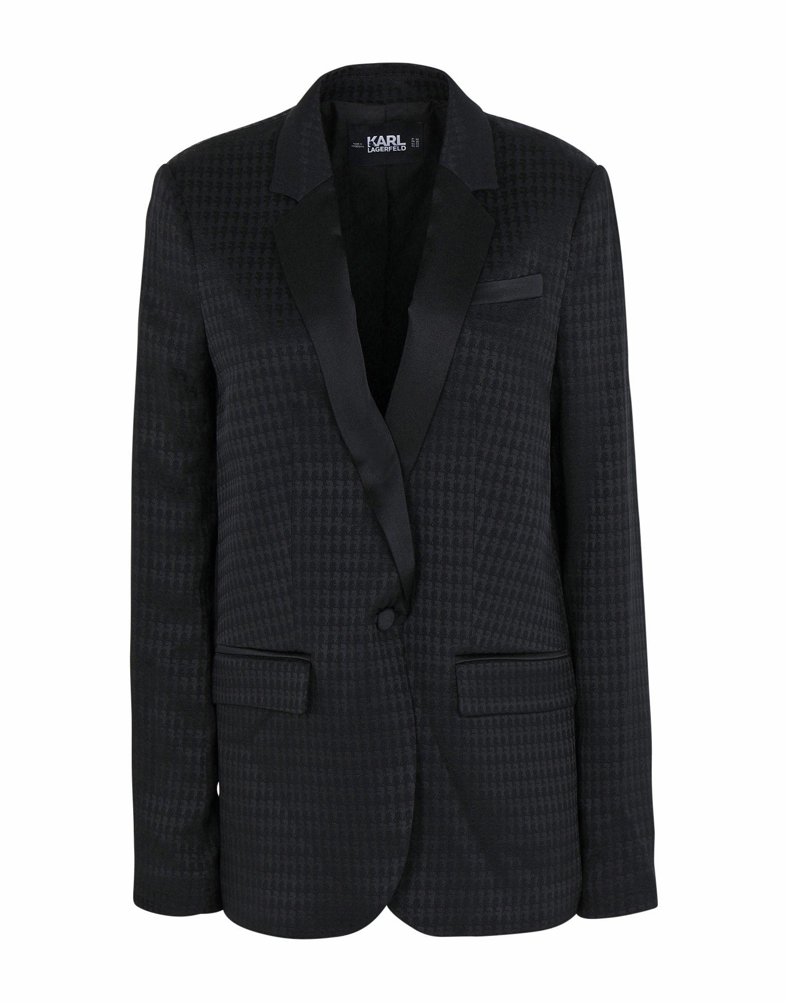 《期間限定セール開催中!》KARL LAGERFELD x OLIVIA PALERMO レディース テーラードジャケット ブラック 40 アセテート 69% / レーヨン 31% JACKET W/KARL HEAD JACQUARD