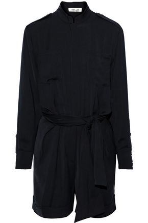 DIANE VON FURSTENBERG Belted brushed-twill mini dress