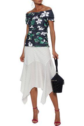 CAROLINE CONSTAS Nika off-the-shoulder floral-print cotton-blend poplin top