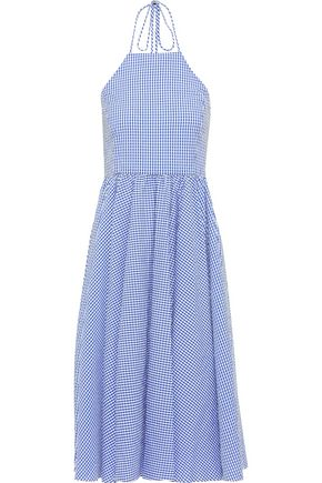 CAROLINE CONSTAS Gretta gingham cotton-seersucker halterneck dress