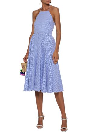 CAROLINE CONSTAS Gretta gingham cotton-seersucker halterneck dress