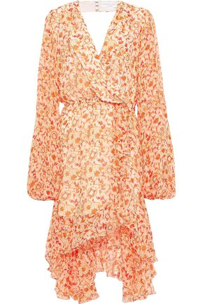 CAROLINE CONSTAS Olivia wrap-effect ruffled floral-print silk-chiffon dress