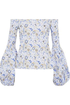 CAROLINE CONSTAS Gisele off-the-shoulder floral-print cotton-blend poplin blouse