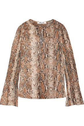 DIANE VON FURSTENBERG Rohini shirred snake-print silk-georgette blouse