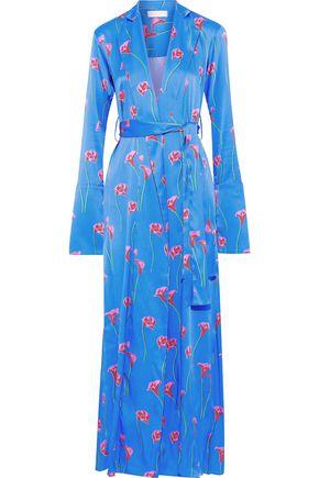 CAROLINE CONSTAS Jade floral-print stretch-silk satin kimono