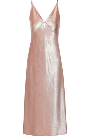 VINCE. Crinkled satin midi slip dress