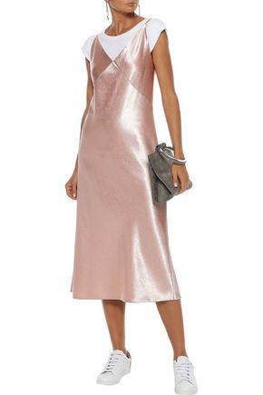 VINCE. Crinkled satin midi dress
