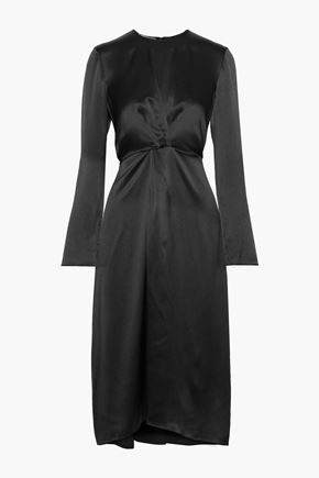 VINCE. Asymmetric pleated silk-satin dress