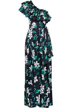 CAROLINE CONSTAS Rhea one-shoulder ruffled cotton-blend poplin maxi dress
