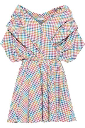 CAROLINE CONSTAS Marcella gathered gingham seersucker mini dress