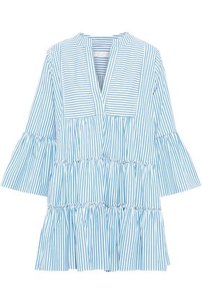CAROLINE CONSTAS Lyssa tiered striped cotton-poplin mini dress