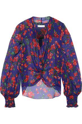 CAROLINE CONSTAS Bette twist-front floral-print silk-chiffon blouse