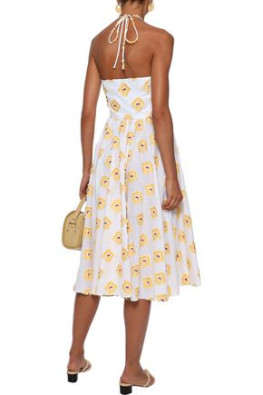 CAROLINE CONSTAS Gretta fil coupé cotton-blend jacquard halterneck dress