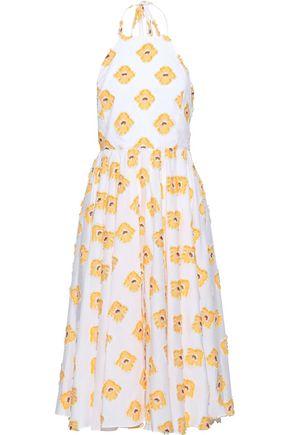 CAROLINE CONSTAS Gretta fil coupé cotton-blend jacquard halterneck dress