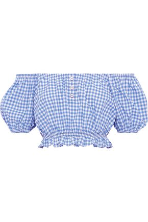 CAROLINE CONSTAS Bardot cropped off-the-shoulder gingham cotton-poplin top