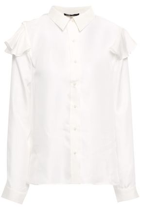 MAJE Cutout ruffled silk-twill shirt