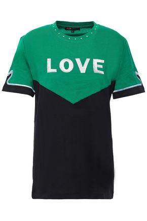 MAJE Studded embroidered cotton- jersey T-shirt