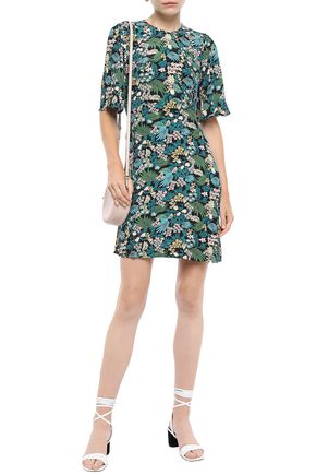 MAJE Floral-print crepe de chine mini dress