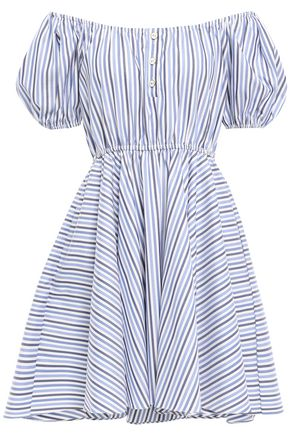 CAROLINE CONSTAS Off-the-shoulder cotton-poplin mini dress