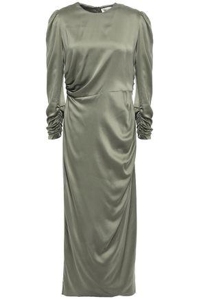 ZIMMERMANN Ruched washed silk-blend midi dress