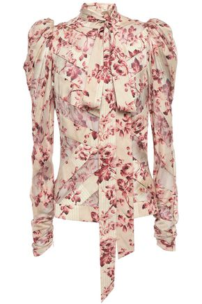 ZIMMERMANN Pussy-bow silk-blend twill and georgette blouse