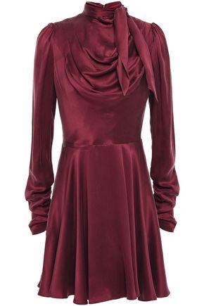ZIMMERMANN Tie-neck draped washed-silk mini dress