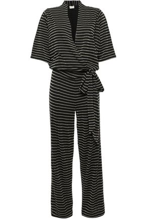 BY MALENE BIRGER Wrap-effect metallic striped jersey jumpsuit