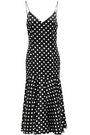 CAROLINE CONSTAS Kai polka-dot stretch-silk satin midi slip dress