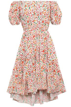 CAROLINE CONSTAS Bardot off-the-shoulder printed stretch-cotton poplin dress
