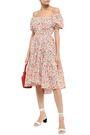 CAROLINE CONSTAS Bardot off-the-shoulder printed stretch-cotton poplin dress