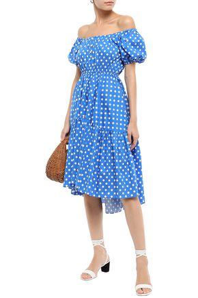 CAROLINE CONSTAS Bardot off-the-shoulder polka-dot stretch-cotton poplin dress