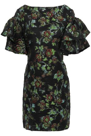 BADGLEY MISCHKA Tiered brocade mini dress