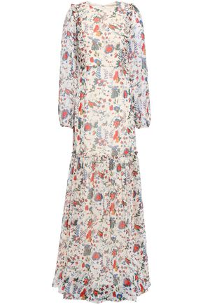 MIKAEL AGHAL Ruffled floral-print crinkled-georgette gown