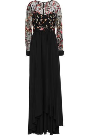 MIKAEL AGHAL Embroidered tulle and crepe de chine gown