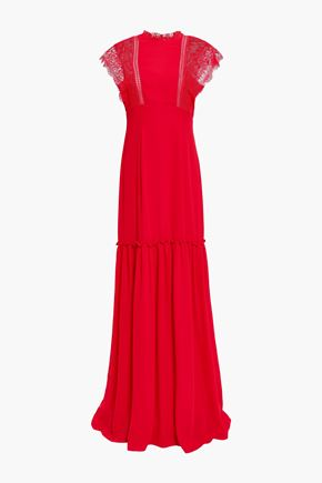MIKAEL AGHAL Lace-trimmed gathered crepe de chine gown