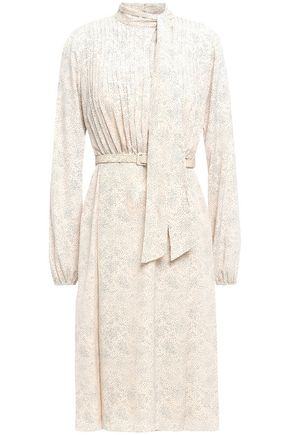 MIKAEL AGHAL Tie-neck pleated printed woven dress