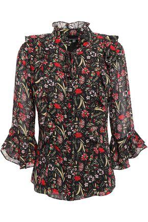 MIKAEL AGHAL Ruffled floral-print georgette blouse