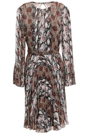 MIKAEL AGHAL Belted pleated georgette dress