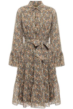 MIKAEL AGHAL Belted floral-print crepe de chine dress