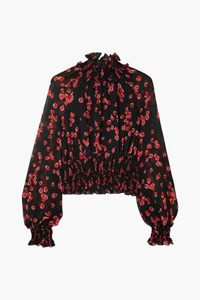 GIAMBATTISTA VALLI Cropped shirred floral-print silk-chiffon blouse