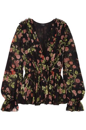 GIAMBATTISTA VALLI Wrap-effect floral-print silk-georgette blouse