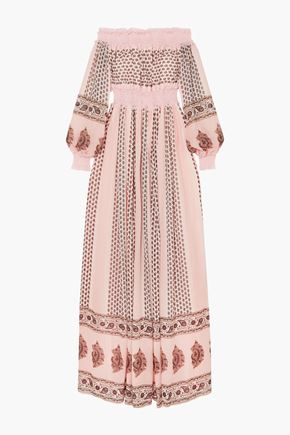 GIAMBATTISTA VALLI Off-the-shoulder shirred lace-trimmed printed silk-georgette gown